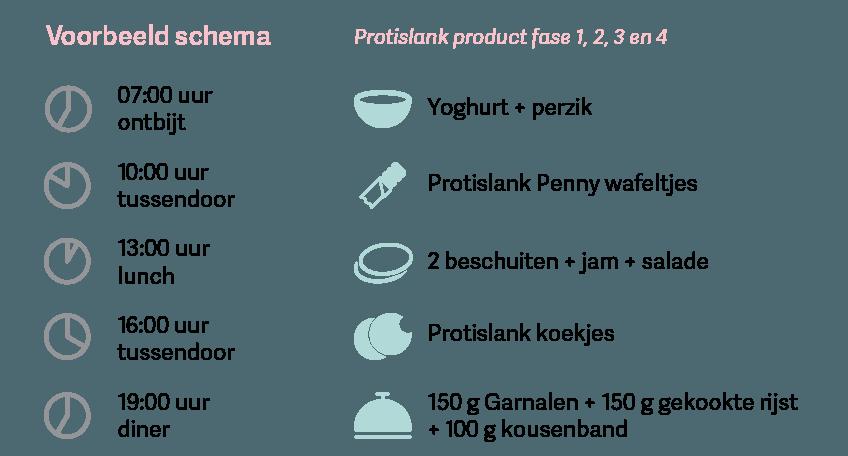 Proteine dieet fase 4 voorbeeld schema