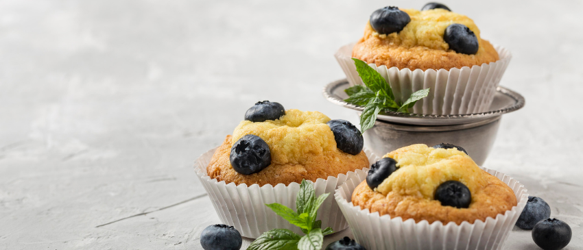 Koolhydraatarme muffins met blauwe bessen